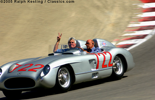 Monterey Historic Automobile Races 2005 in Laguna Seca - 1955 Mercedes-Benz 300 SLR Roadster, Jay Leno, Sir Stirling Moss
